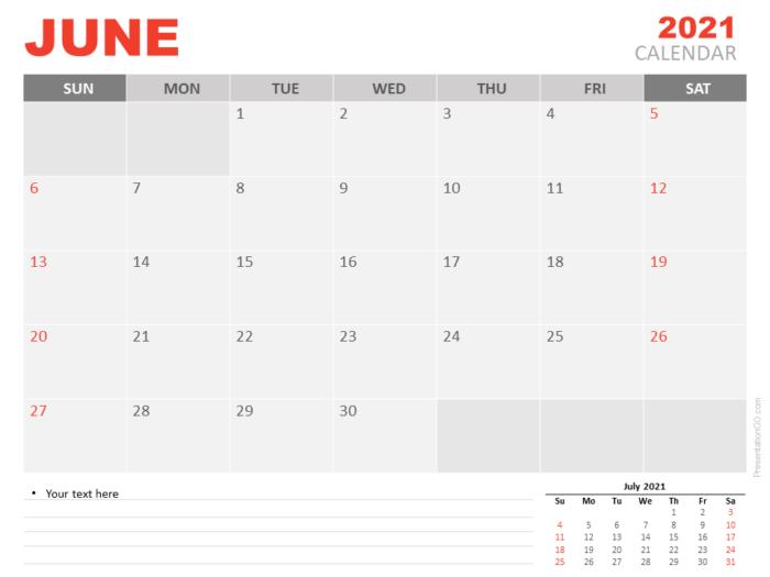 Free Calendar 2021 June Planning for PowerPoint
