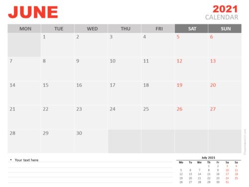 Free Calendar 2021 June for PowerPoint