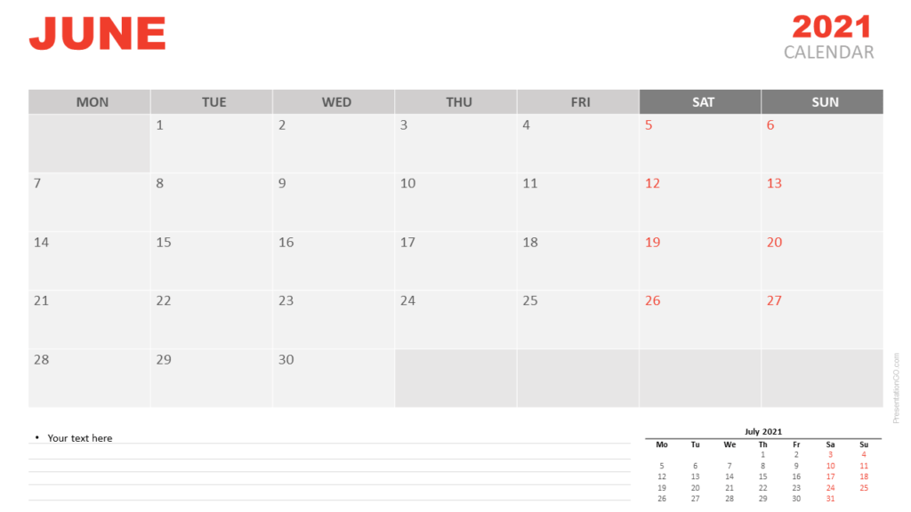 Free Calendar 2021 June for PowerPoint and Google Slides