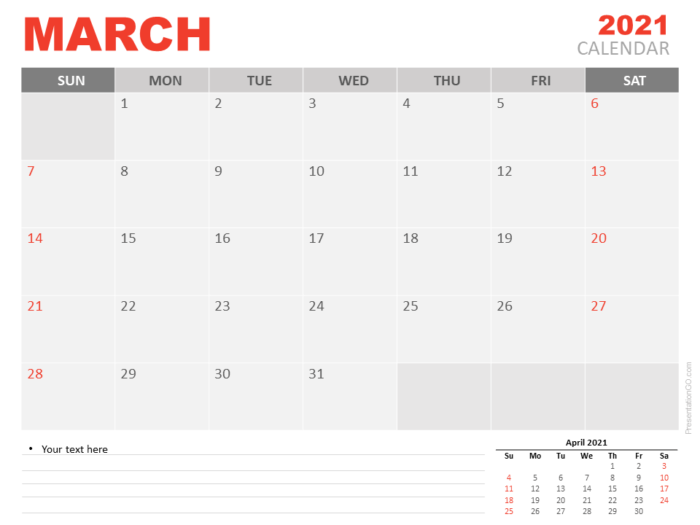 Free Calendar 2021 March Planning for PowerPoint