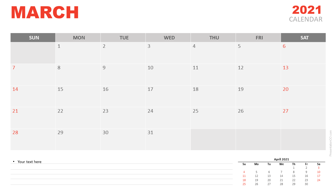 Free Calendar 2021 March Planning for PowerPoint and Google Slides