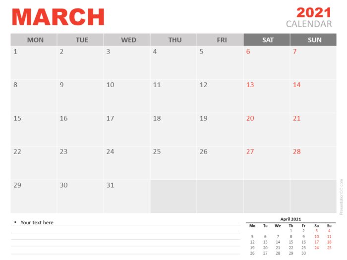Free Calendar 2021 March for PowerPoint