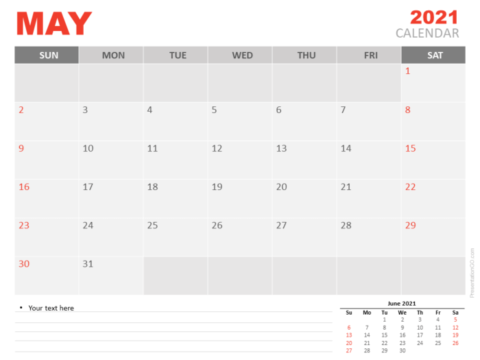 Free Calendar 2021 May Planning for PowerPoint