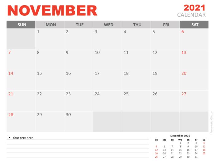 Free Calendar 2021 November Planning for PowerPoint
