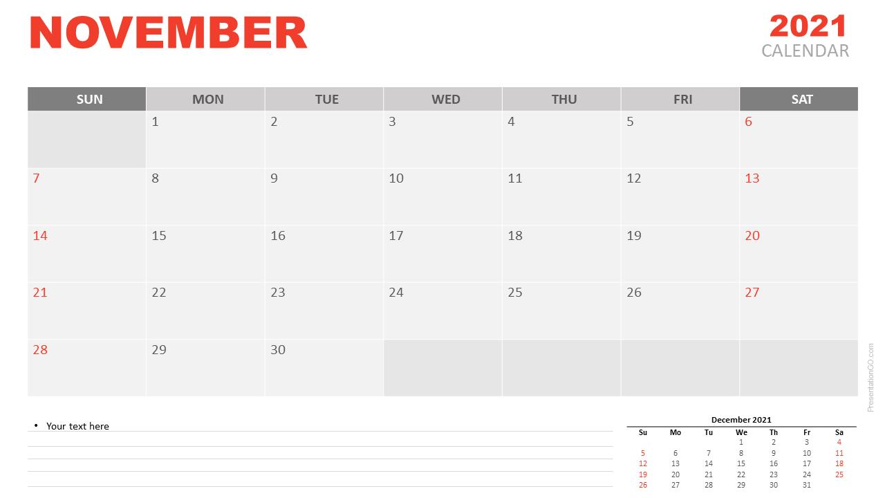 Free Calendar 2021 November Planning for PowerPoint and Google Slides