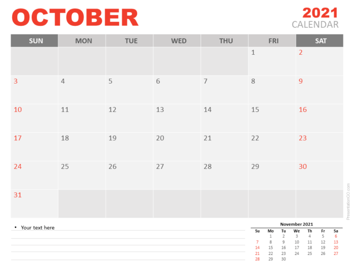 Free Calendar 2021 October Planning for PowerPoint