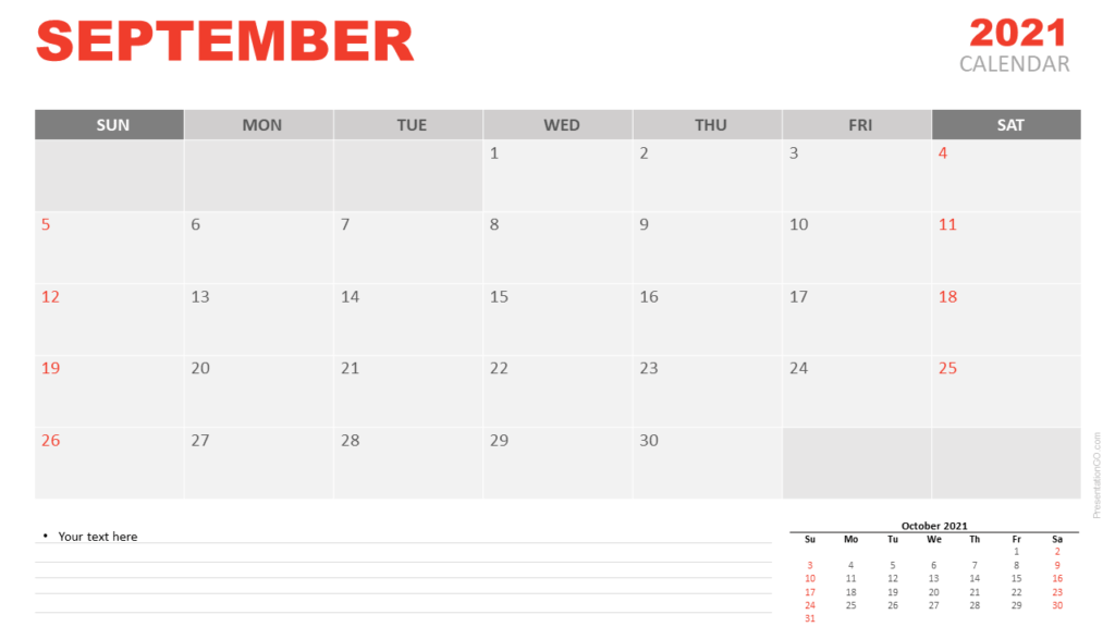 Free Calendar 2021 September Planning for PowerPoint and Google Slides