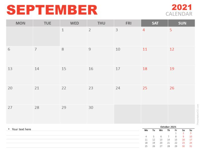 Free Calendar 2021 September for PowerPoint