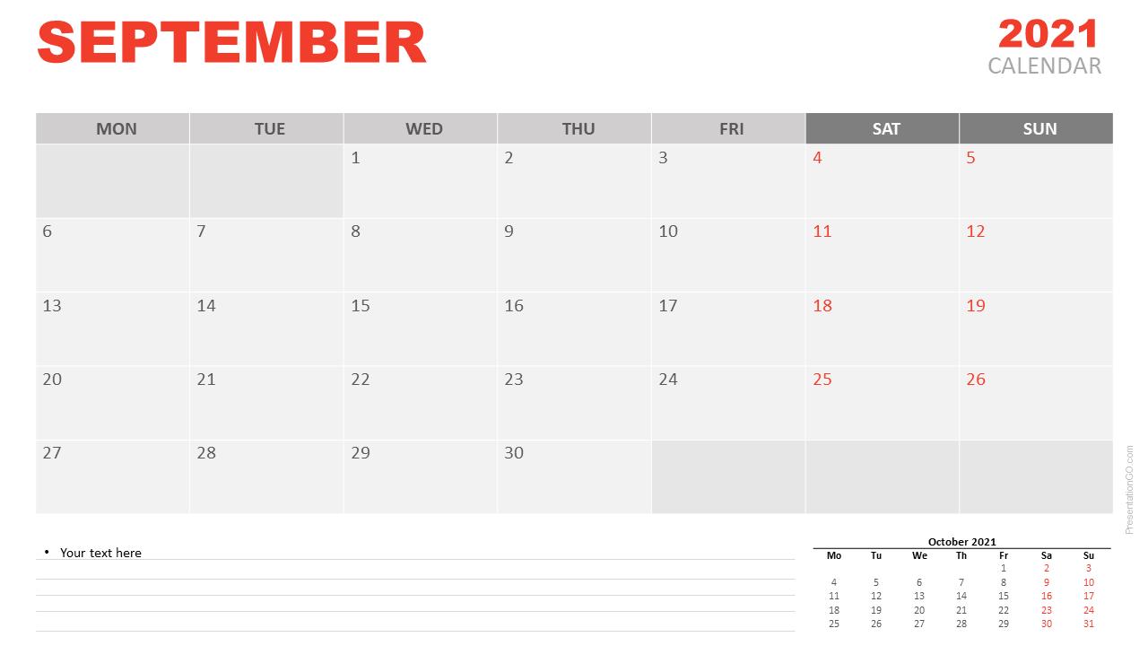 Free Calendar 2021 September for PowerPoint and Google Slides