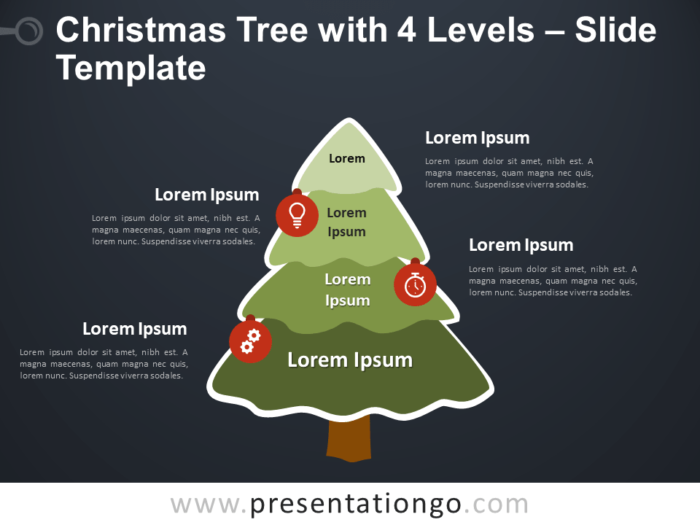 Free Christmas Tree with 4 Levels Diagram for PowerPoint