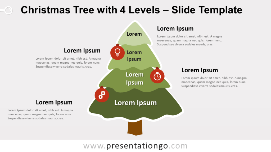 Free Christmas Tree with 4 Levels for PowerPoint Google Slides