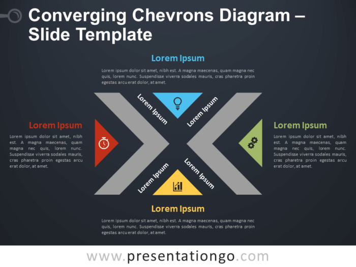 Free Converging Chevrons Diagram Infographic for PowerPoint