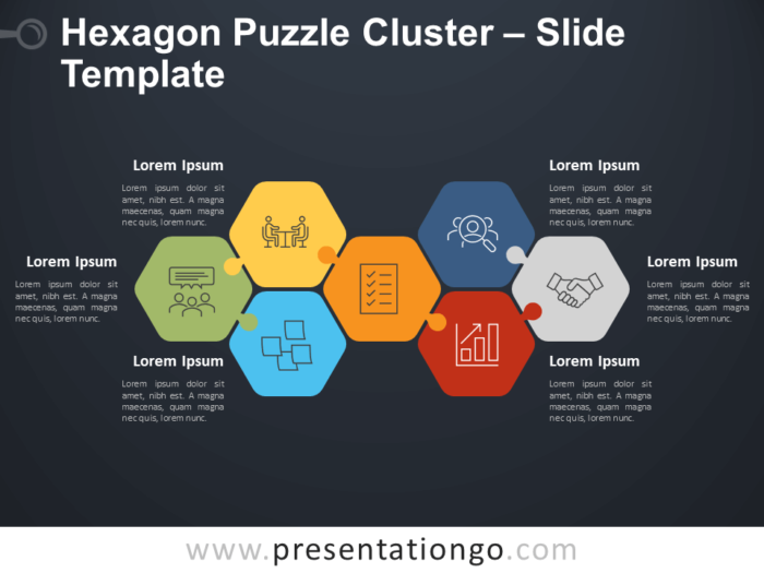 Free Hexagon Puzzle Cluster Diagram for PowerPoint