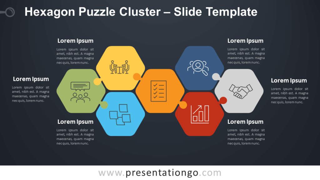 Free Hexagon Puzzle Cluster Diagram for PowerPoint Google Slides