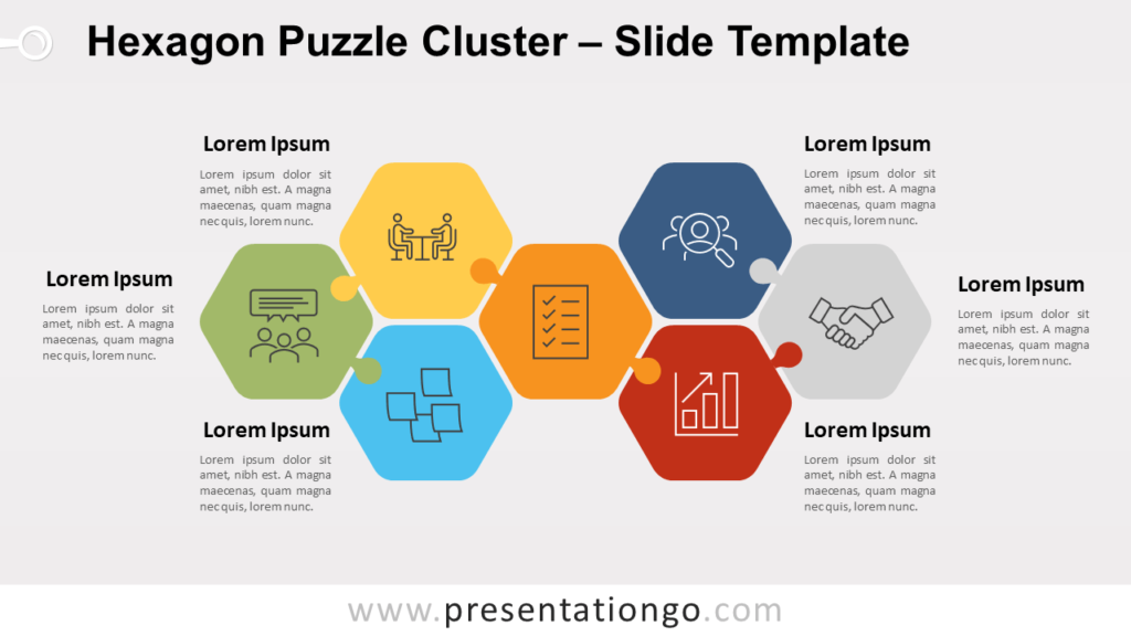 Free Hexagon Puzzle Cluster for PowerPoint Google Slides