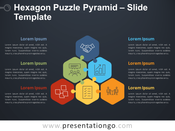 Free Hexagon Puzzle Pyramid Diagram for PowerPoint
