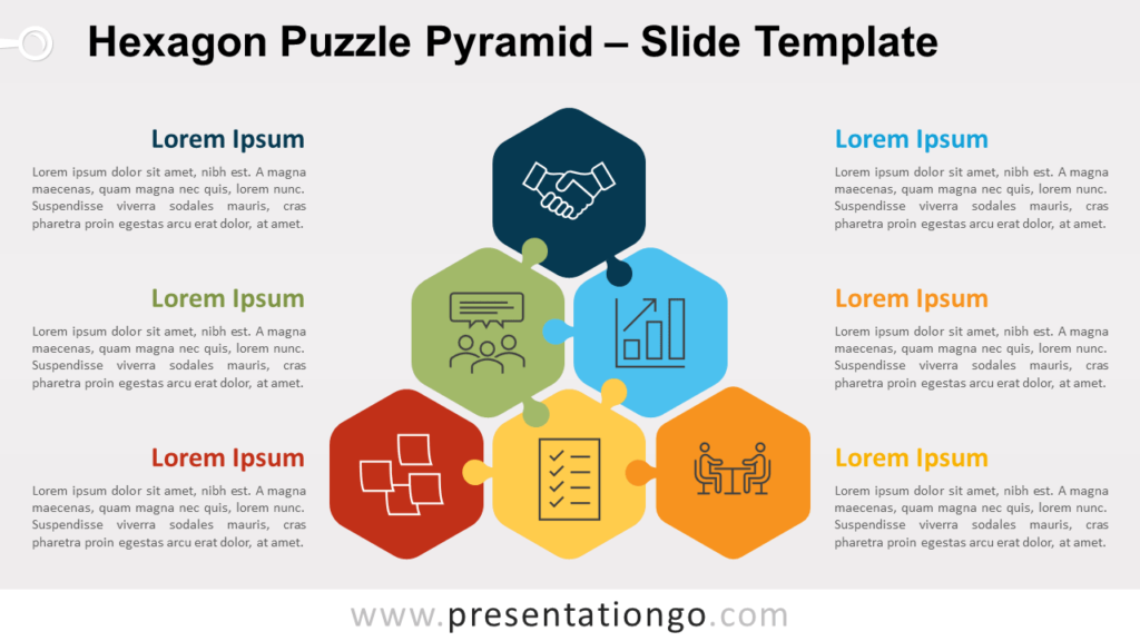 Free Hexagon Puzzle Pyramid for PowerPoint and Google Slides