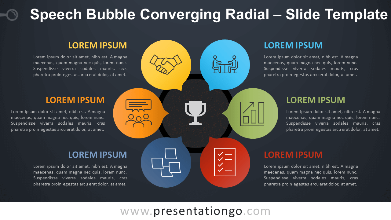 Free Speech Bubble Converging Radial Diagram for PowerPoint Google Slides