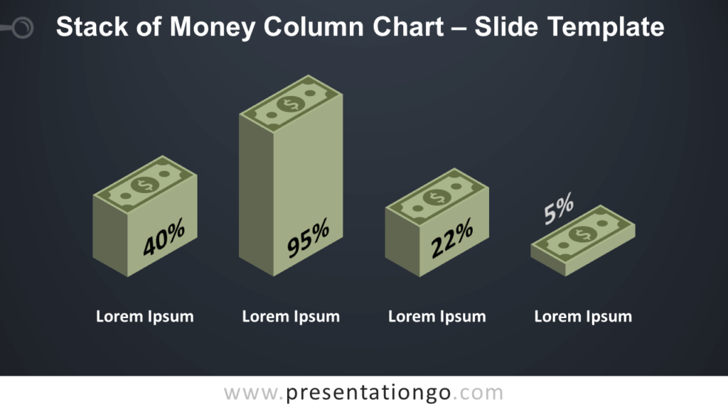 Free Stack Money Column Chart Diagram for PowerPoint and Google Slides