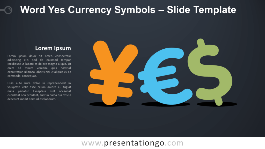 Free Word Yes Currency Symbols Infographic for PowerPoint and Google Slides