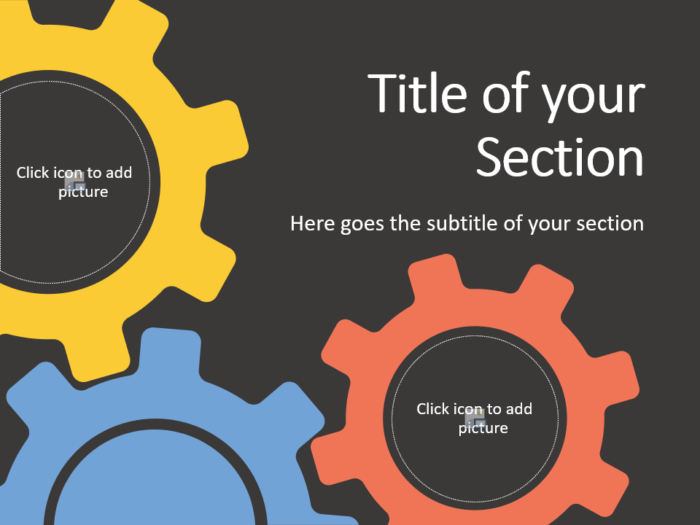 Free Gears Template for PowerPoint – Section Slide (Variant 2)