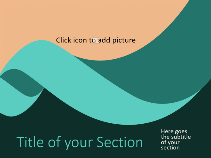 Free Turquoise Swirl Template for PowerPoint – Section Slide (Variant 2)