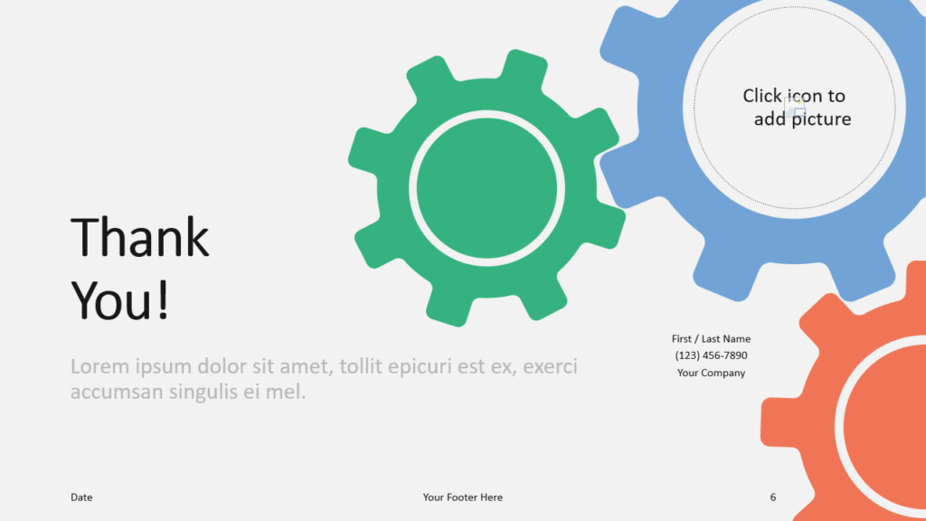Free Gears Template for Google Slides - Closing / Thank you