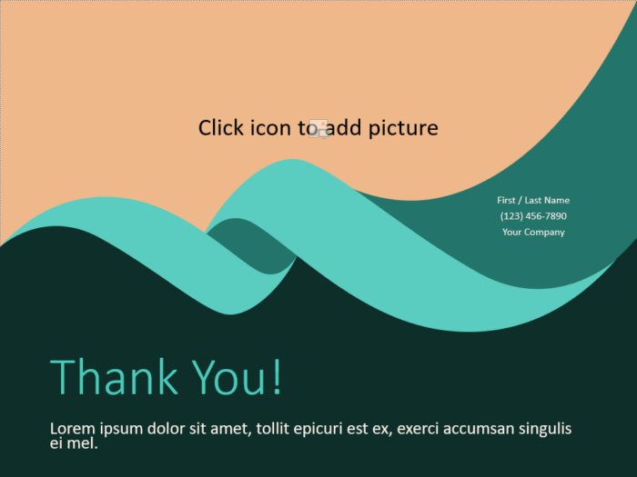 Free Turquoise Swirl Template for PowerPoint - Closing / Thank you