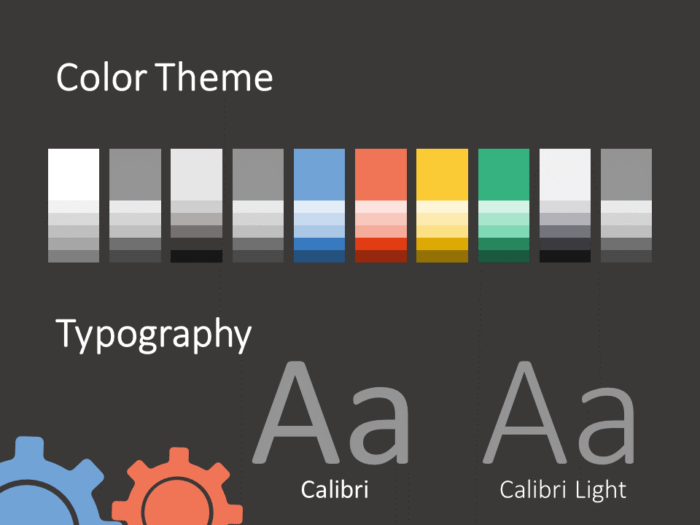 Free Gears Template for PowerPoint – Colors and Fonts