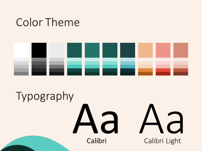 Free Turquoise Swirl Template for PowerPoint – Colors and Fonts