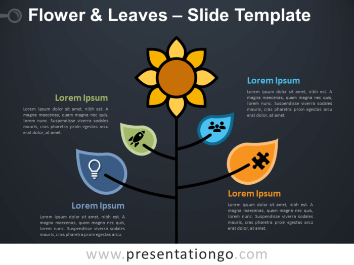 Free Flower & Leaves Infographic for PowerPoint