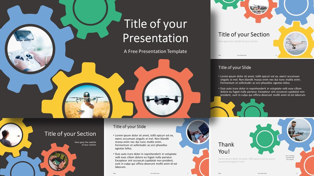 Free Gears Template for Google Slides and PowerPoint