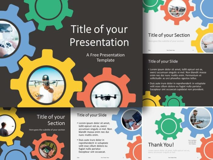 Free Gears Template for PowerPoint and Google Slides