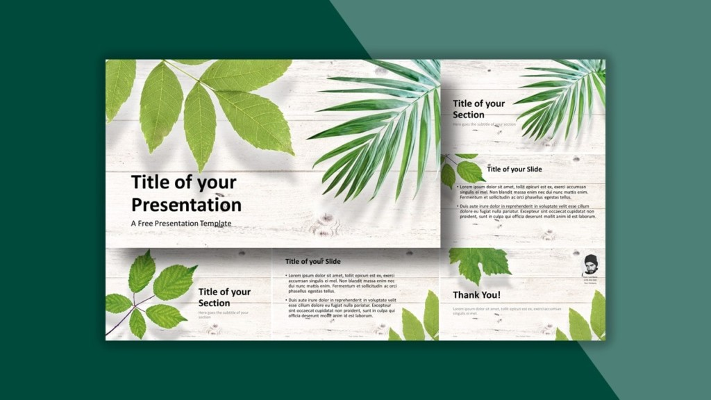 Green Leaves Flat Lay Template for PowerPoint
