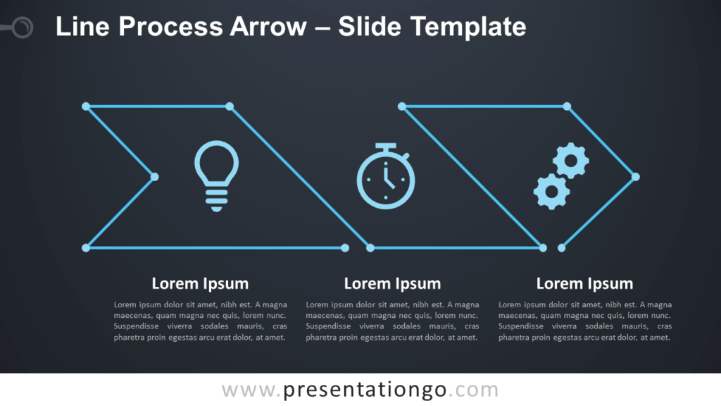 Free Line Process Arrow Diagram for PowerPoint and Google Slides