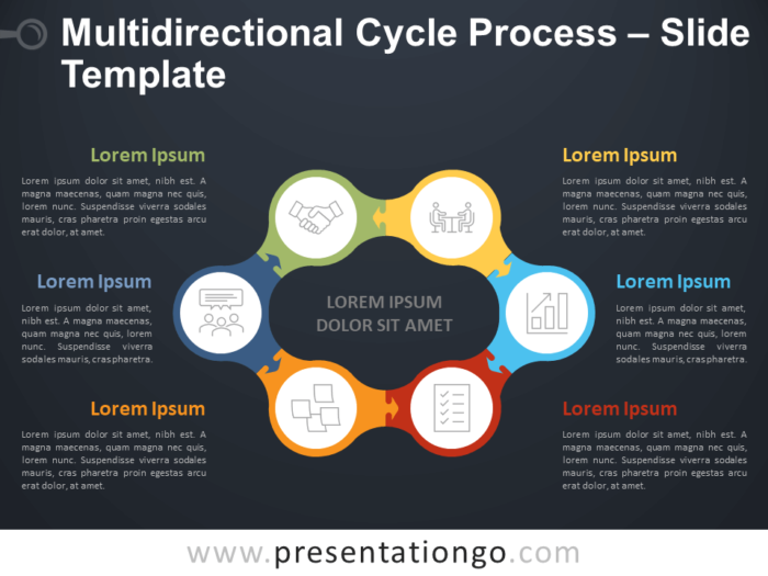 Free Multidirectional Cycle Process Diagram for PowerPoint