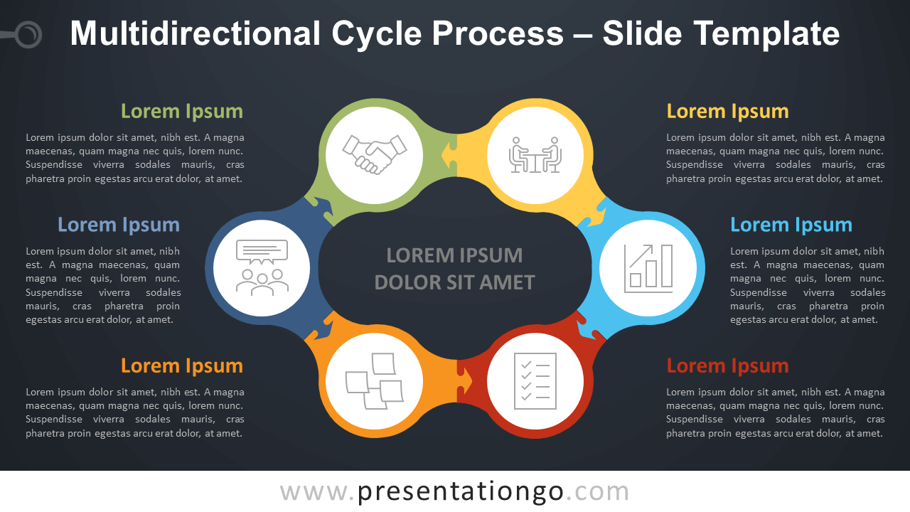 Free Multidirectional Cycle Process Diagram for PowerPoint and Google Slides