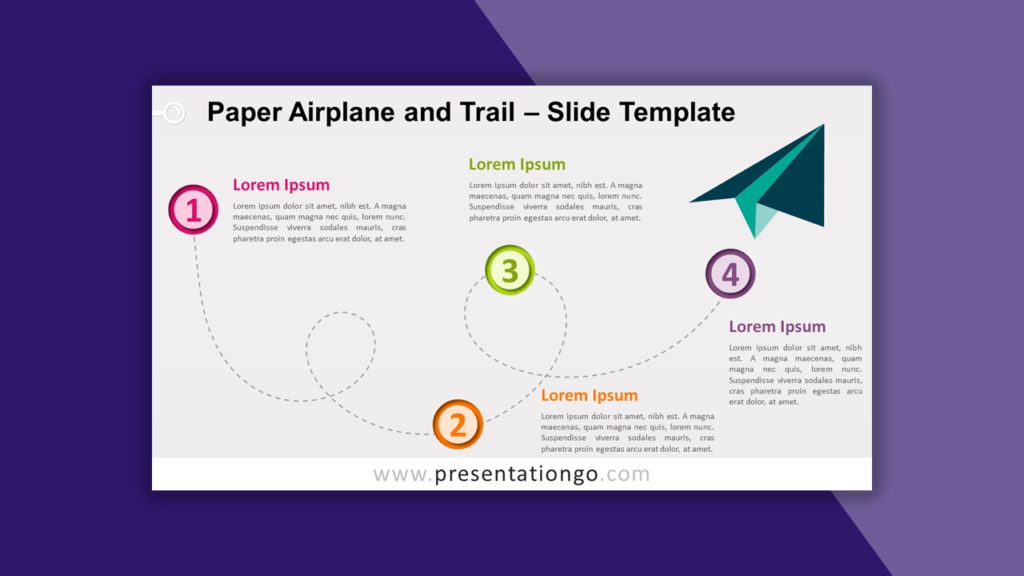 Paper Airplane and Trail Timeline for PowerPoint and Google Slides