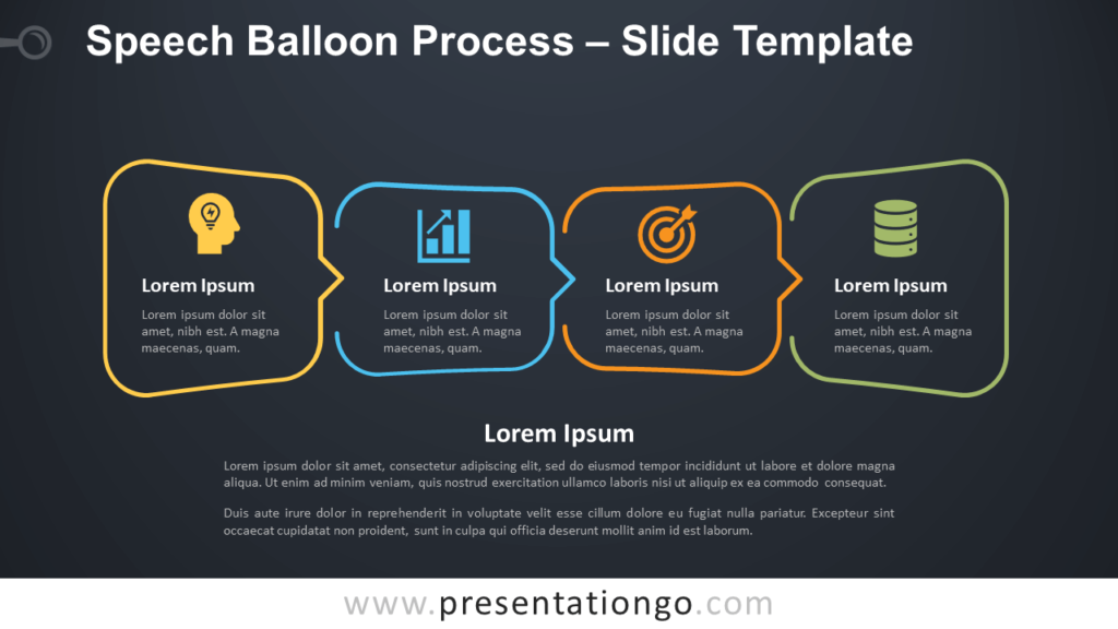 Free Speech Balloon Process Infographic for PowerPoint and Google Slides