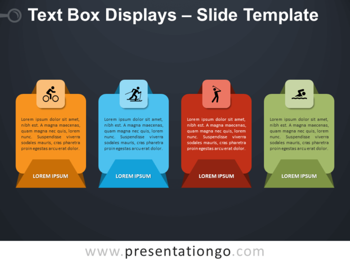 Free Text Box Displays Infographic for PowerPoint