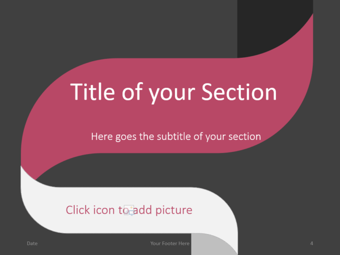Free Twisted Strip Template for PowerPoint – Section Slide (Variant 1)