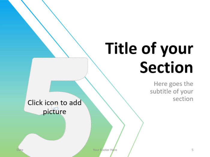 Free Gradient Numbers Template for PowerPoint – Section Slide (Variant 2)
