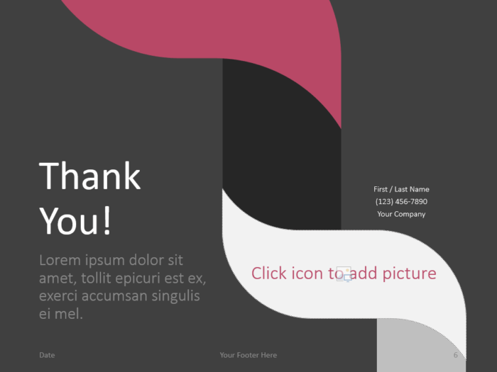 Free Twisted Strip Template for PowerPoint - Closing / Thank you