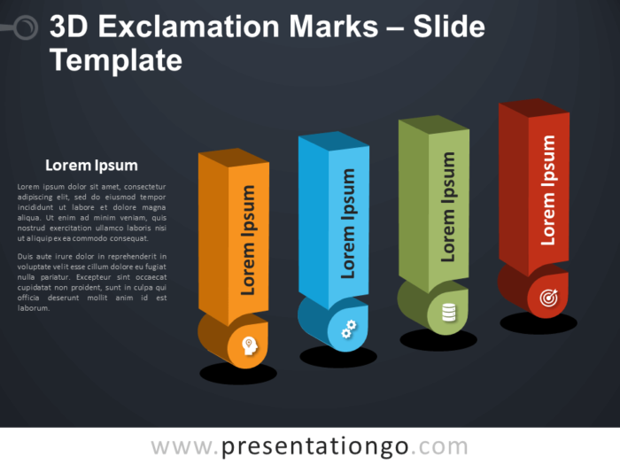 Free 3D Exclamation Marks Infographic for PowerPoint