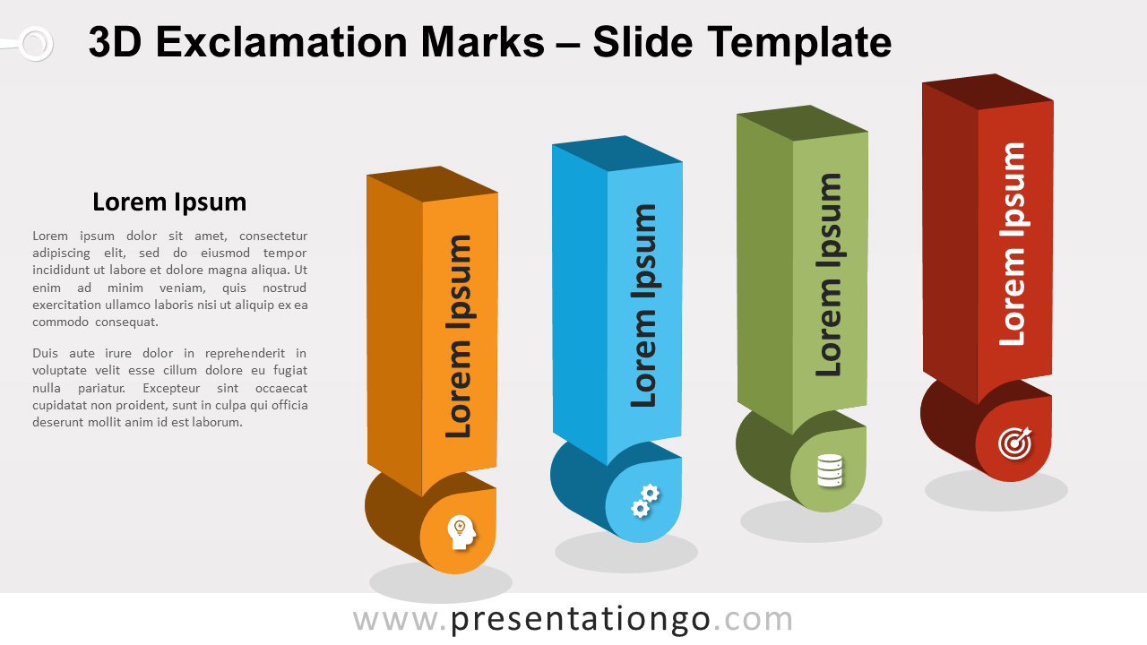 Free 3D Exclamation Marks for PowerPoint and Google Slides