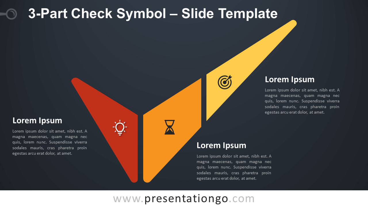 Free 3-Part Check Symbol Infographic for PowerPoint and Google Slides