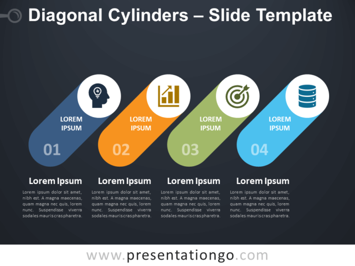 Free Diagonal Cylinders Diagram for PowerPoint