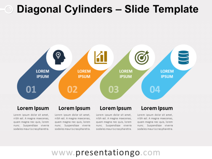 Free Diagonal Cylinders for PowerPoint