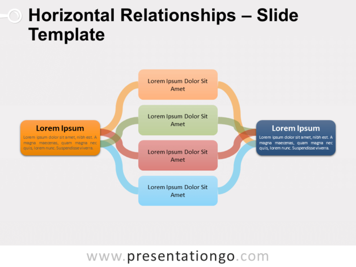 Free Horizontal Relationships Diagram for PowerPoint