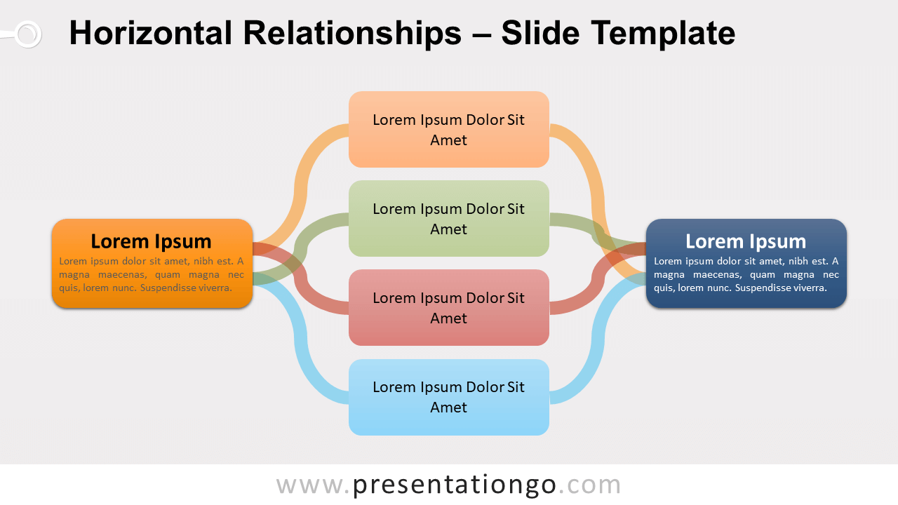 Free Horizontal Relationships Diagram for PowerPoint and Google Slides